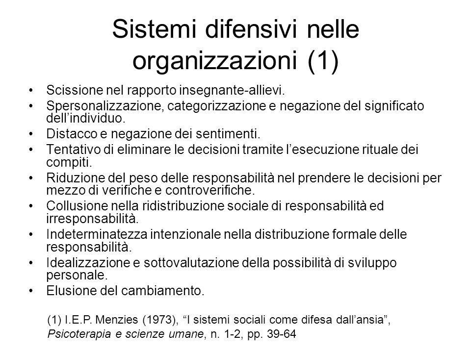 Sistemi difensivi nelle organizzazioni (1) Scissione nel rapporto insegnante-allievi. Spersonalizzazione, categorizzazione e negazione del significato
