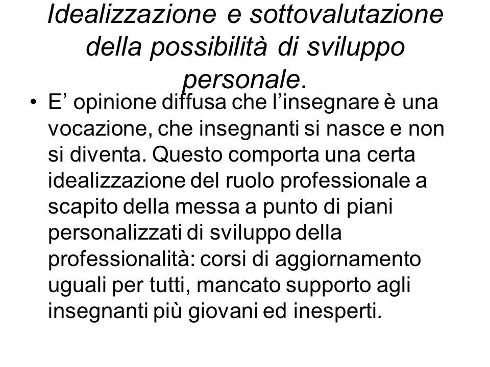 Idealizzazione e sottovalutazione della possibilità di sviluppo personale.