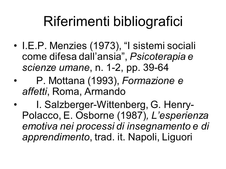 "Riferimenti bibliografici I.E.P. Menzies (1973), ""I sistemi sociali come difesa dall'ansia"", Psicoterapia e scienze umane, n. 1-2, pp. 39-64 P. Mottan"