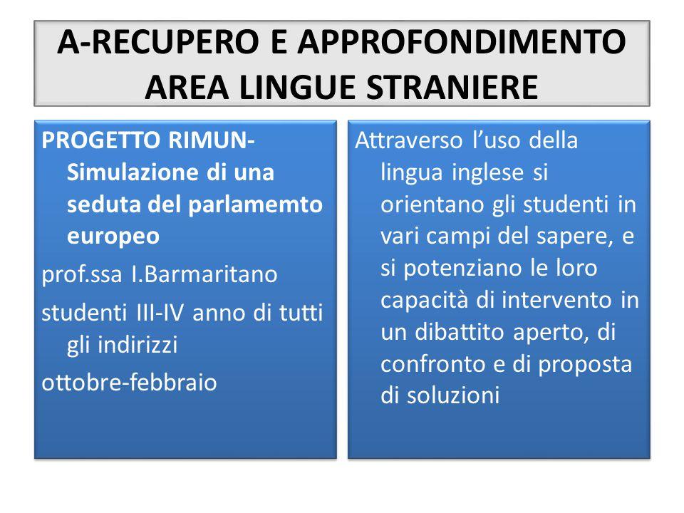 A-RECUPERO E APPROFONDIMENTO AREA LINGUE STRANIERE PROGETTO RIMUN- Simulazione di una seduta del parlamemto europeo prof.ssa I.Barmaritano studenti II
