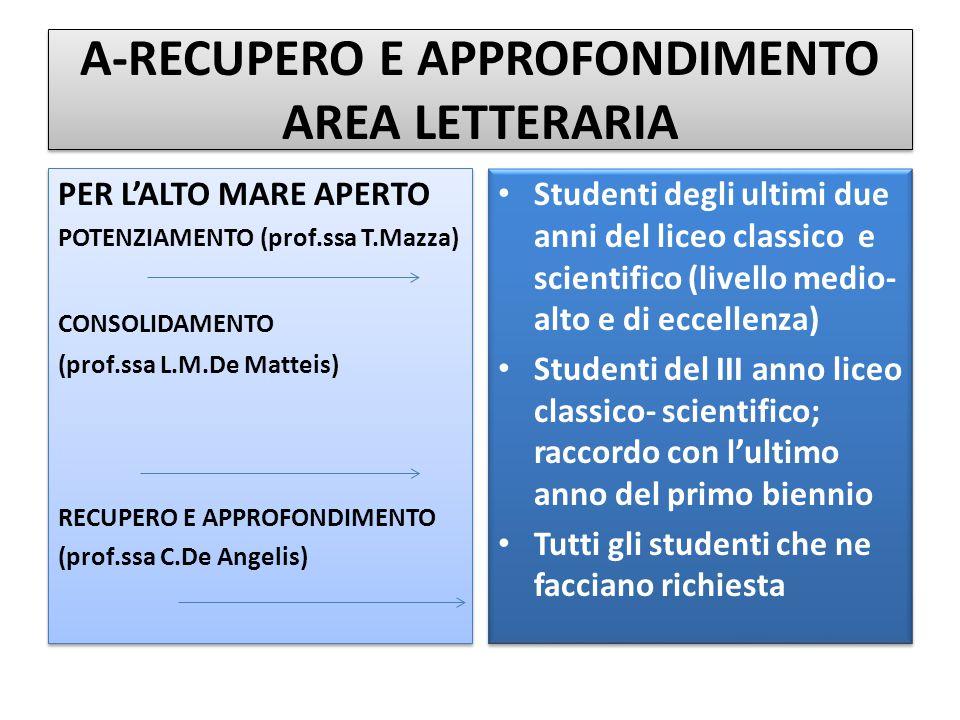 A-RECUPERO E APPROFONDIMENTO AREA LETTERARIA PER L'ALTO MARE APERTO POTENZIAMENTO (prof.ssa T.Mazza) CONSOLIDAMENTO (prof.ssa L.M.De Matteis) RECUPERO