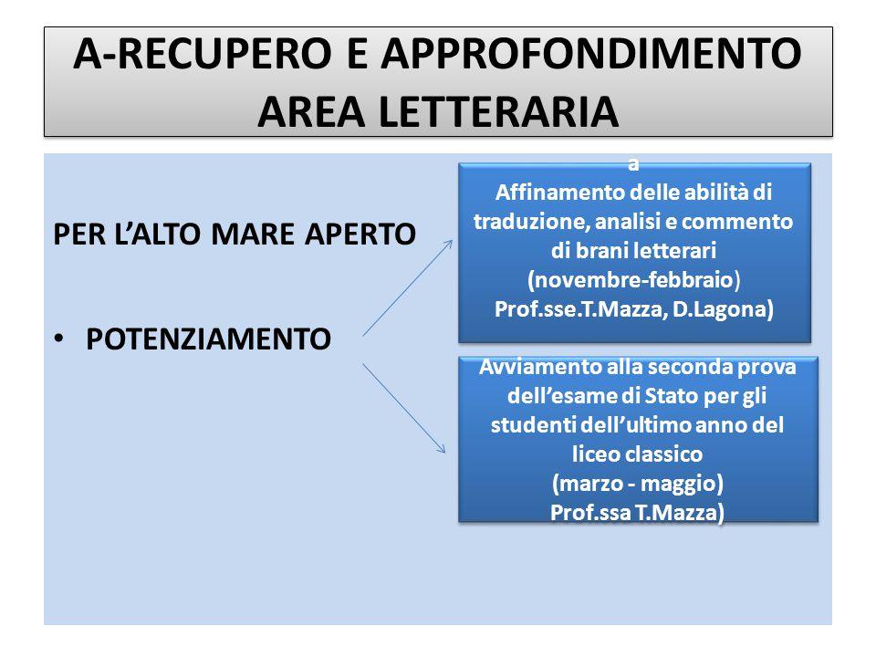 A-RECUPERO E APPROFONDIMENTO AREA LETTERARIA PER L'ALTO MARE APERTO CONSOLIDAMENTO Laboratorio di traduzione di brevi brani d'autore (ottobre-gennaio) Prof.sse E.Alibrandi, C.De Angelis, L.M.De Matteis, R.Fiorelli, M.Servodio) Laboratorio di traduzione di brevi brani d'autore (ottobre-gennaio) Prof.sse E.Alibrandi, C.De Angelis, L.M.De Matteis, R.Fiorelli, M.Servodio) Attività di raccordo con l'ultimo anno del primo biennio (aprile-maggio) Studenti tutor Attività di raccordo con l'ultimo anno del primo biennio (aprile-maggio) Studenti tutor