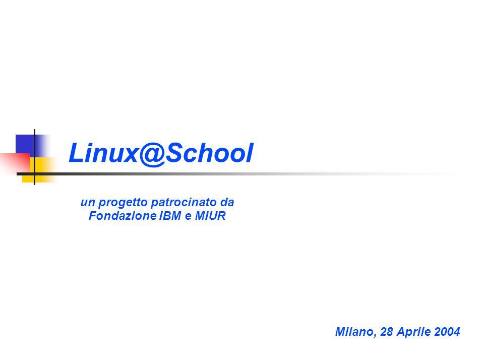 Linux@School un progetto patrocinato da Fondazione IBM e MIUR Title slide Milano, 28 Aprile 2004