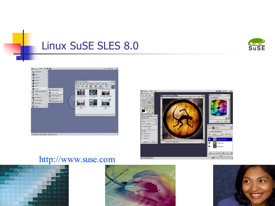 "Linux SuSE SLES 8.0 Text slide with ""film strip"" images http://www.suse.com"