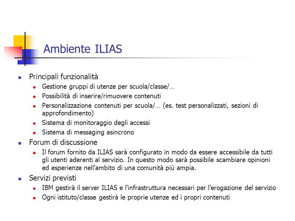 Basic text slide Ambiente ILIAS Principali funzionalità Gestione gruppi di utenze per scuola/classe/… Possibilità di inserire/rimuovere contenuti Personalizzazione contenuti per scuola/… (es.