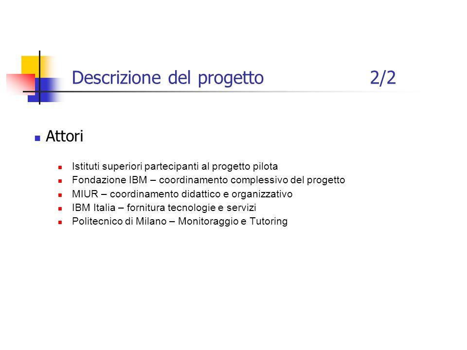 Descrizione del progetto2/2 Attori Istituti superiori partecipanti al progetto pilota Fondazione IBM – coordinamento complessivo del progetto MIUR – coordinamento didattico e organizzativo IBM Italia – fornitura tecnologie e servizi Politecnico di Milano – Monitoraggio e Tutoring