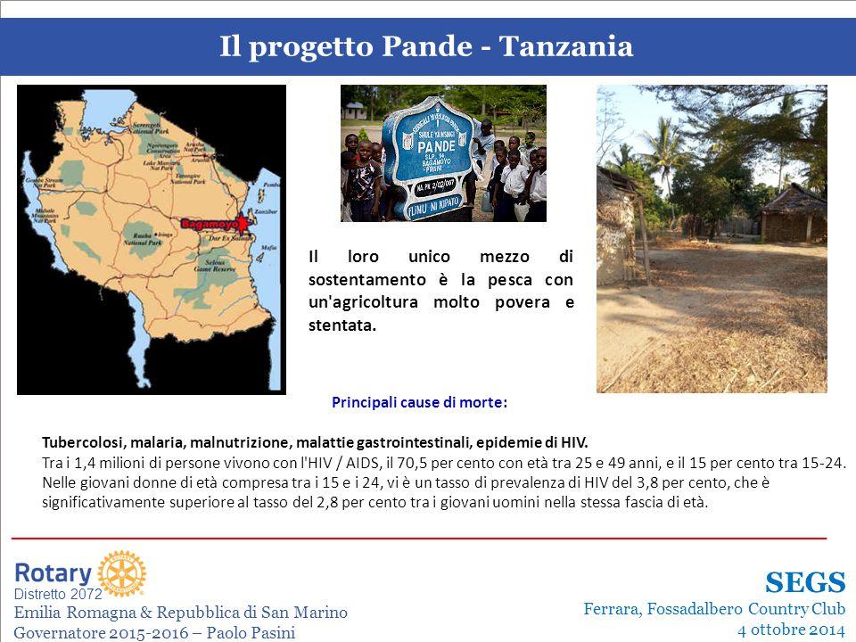SEMINARIO ISTRUZIONE SQUADRA DISTRETTUALE Repubblica di San Marino, 22 Febbraio 2014 Il progetto Pande - Tanzania Leonardo de Angelis La gestione dei progetti Distretto 2072 Emilia Romagna & Repubblica di San Marino Governatore 2015-2016 – Paolo Pasini _______________________________________________________________________ SEGS Ferrara, Fossadalbero Country Club 4 ottobre 2014 Principali cause di morte: Tubercolosi, malaria, malnutrizione, malattie gastrointestinali, epidemie di HIV.