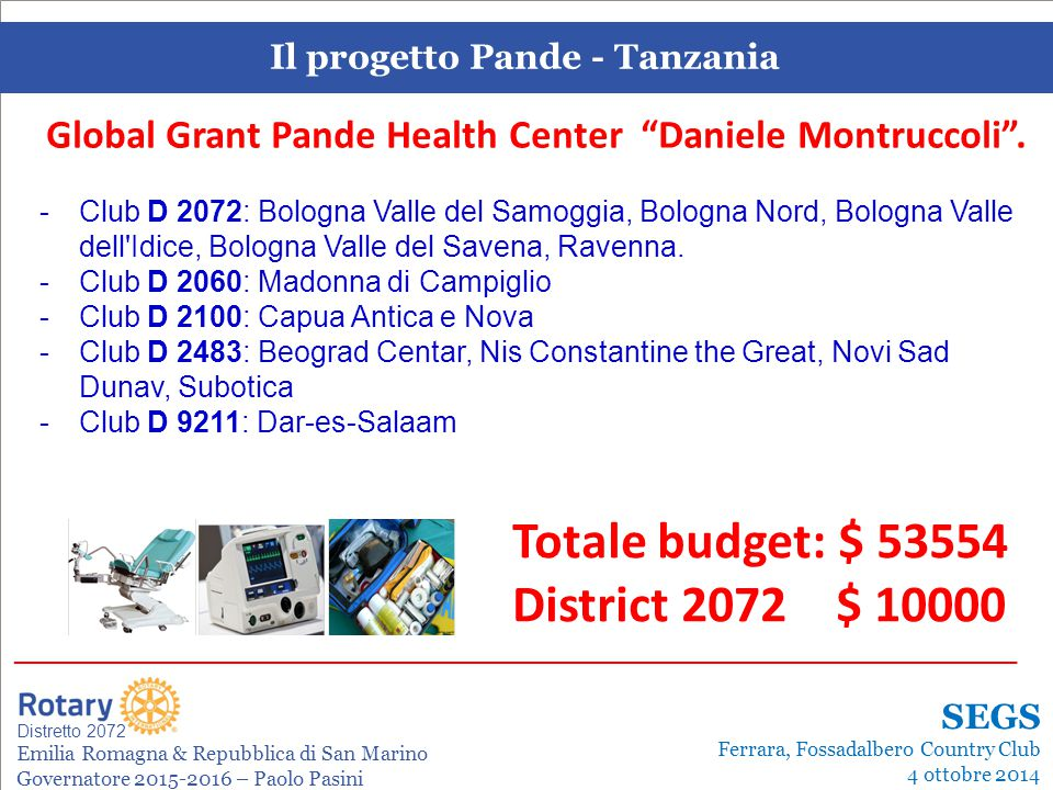 SEMINARIO ISTRUZIONE SQUADRA DISTRETTUALE Repubblica di San Marino, 22 Febbraio 2014 Il progetto Pande - Tanzania Leonardo de Angelis La gestione dei progetti Distretto 2072 Emilia Romagna & Repubblica di San Marino Governatore 2015-2016 – Paolo Pasini _______________________________________________________________________ SEGS Ferrara, Fossadalbero Country Club 4 ottobre 2014 Global Grant Pande Health Center Daniele Montruccoli .