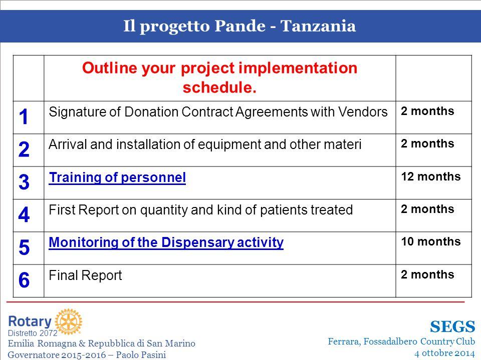 Il progetto Pande - Tanzania Leonardo de Angelis La gestione dei progetti Distretto 2072 Emilia Romagna & Repubblica di San Marino Governatore 2015-2016 – Paolo Pasini _______________________________________________________________________ SEGS Ferrara, Fossadalbero Country Club 4 ottobre 2014 Outline your project implementation schedule.