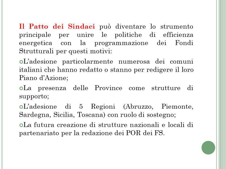 Il Patto dei Sindaci può diventare lo strumento principale per unire le politiche di efficienza energetica con la programmazione dei Fondi Strutturali per questi motivi: L'adesione particolarmente numerosa dei comuni italiani che hanno redatto o stanno per redigere il loro Piano d'Azione; La presenza delle Province come strutture di supporto; L'adesione di 5 Regioni (Abruzzo, Piemonte, Sardegna, Sicilia, Toscana) con ruolo di sostegno; La futura creazione di strutture nazionali e locali di partenariato per la redazione dei POR dei FS.
