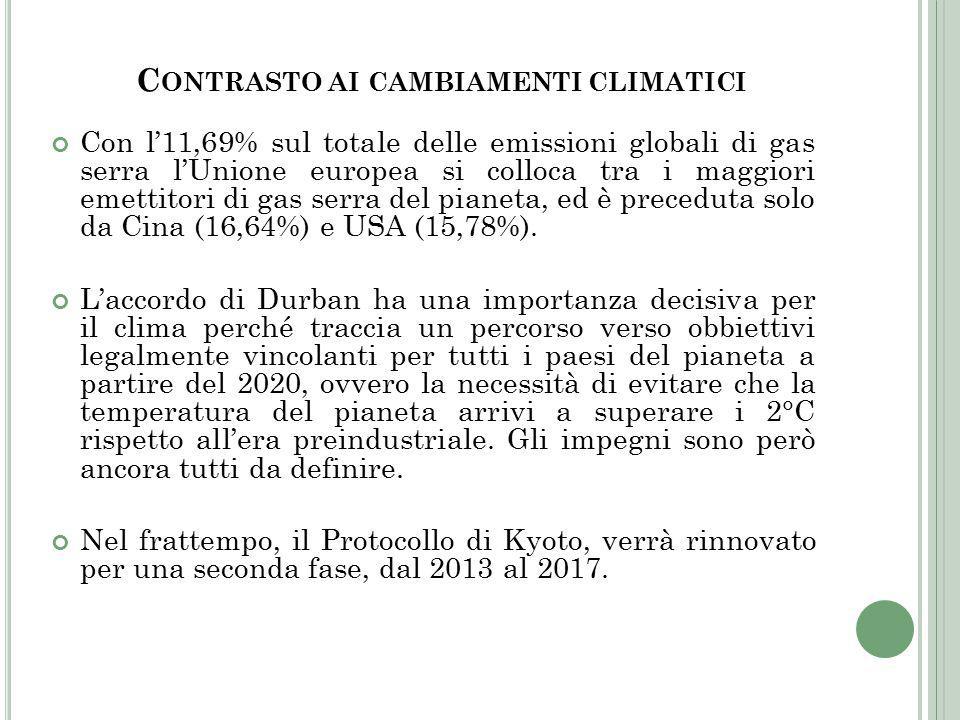 C ONTRASTO AI CAMBIAMENTI CLIMATICI Con l'11,69% sul totale delle emissioni globali di gas serra l'Unione europea si colloca tra i maggiori emettitori di gas serra del pianeta, ed è preceduta solo da Cina (16,64%) e USA (15,78%).