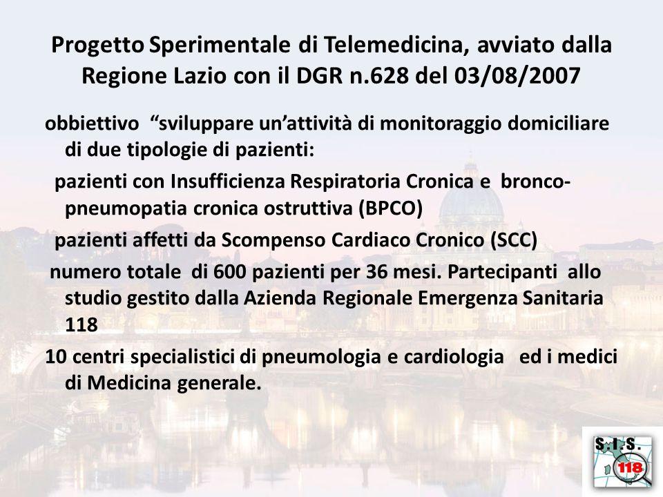 obbiettivo sviluppare un'attività di monitoraggio domiciliare di due tipologie di pazienti: pazienti con Insufficienza Respiratoria Cronica e bronco- pneumopatia cronica ostruttiva (BPCO) pazienti affetti da Scompenso Cardiaco Cronico (SCC) numero totale di 600 pazienti per 36 mesi.