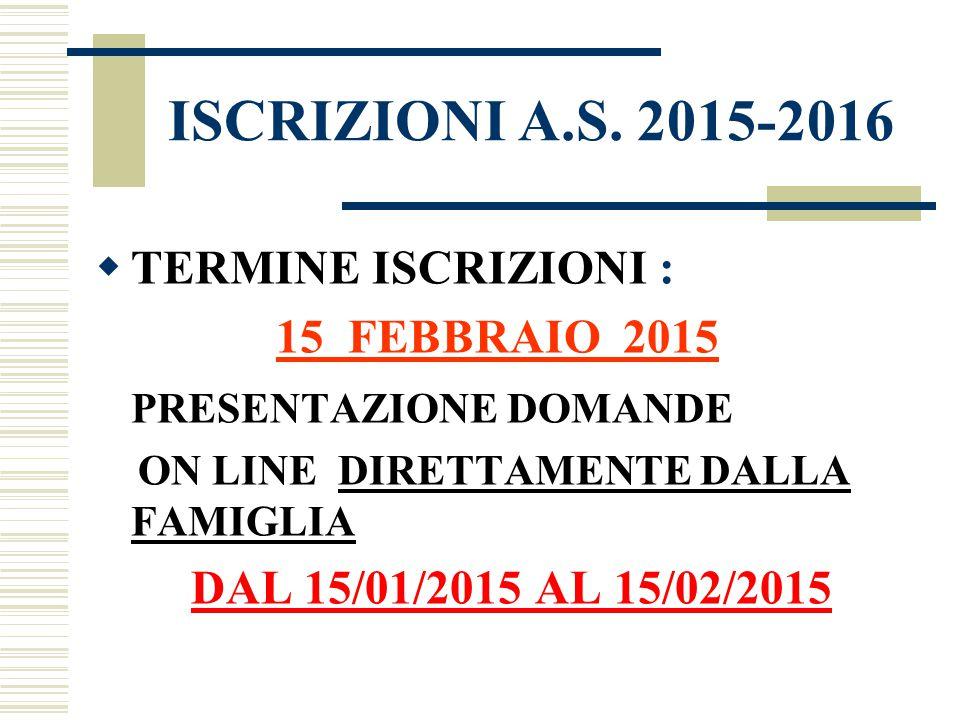 ISCRIZIONI A.S. 2015-2016  TERMINE ISCRIZIONI : 15 FEBBRAIO 2015 PRESENTAZIONE DOMANDE ON LINE DIRETTAMENTE DALLA FAMIGLIA DAL 15/01/2015 AL 15/02/20