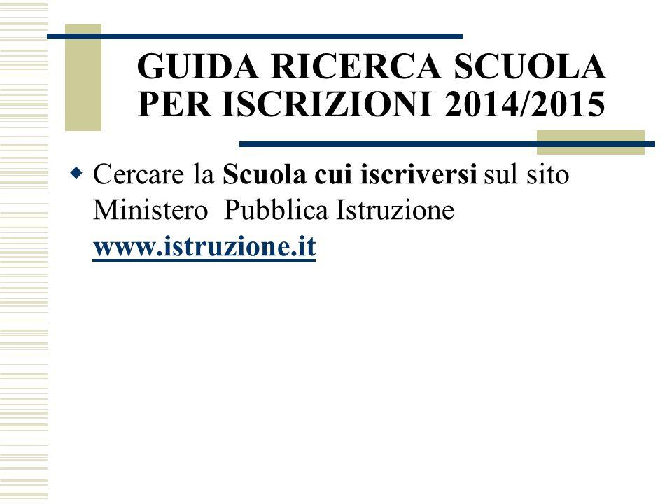 GUIDA RICERCA SCUOLA PER ISCRIZIONI 2014/2015  Cercare la Scuola cui iscriversi sul sito Ministero Pubblica Istruzione www.istruzione.it www.istruzio