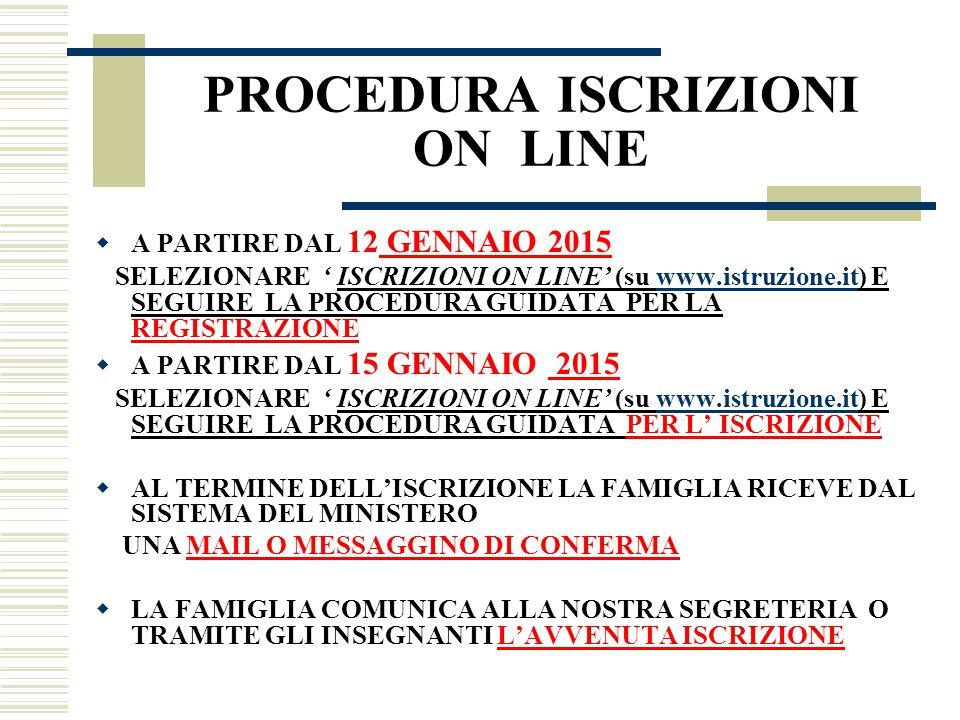 PROCEDURA ISCRIZIONI ON LINE  A PARTIRE DAL 12 GENNAIO 2015 SELEZIONARE ' ISCRIZIONI ON LINE' (su www.istruzione.it) E SEGUIRE LA PROCEDURA GUIDATA P