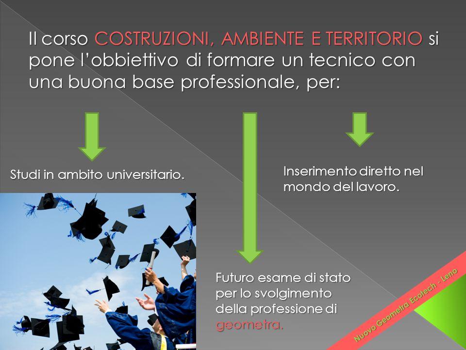 Studi in ambito universitario. Futuro esame di stato per lo svolgimento della professione di geometra. Inserimento diretto nel mondo del lavoro. Nuovo