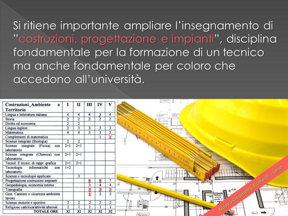 """Si ritiene importante ampliare l'insegnamento di """"costruzioni, progettazione e impianti"""", disciplina fondamentale per la formazione di un tecnico ma a"""