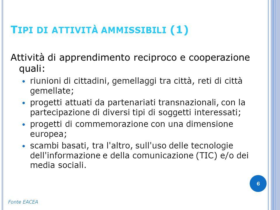 T IPI DI ATTIVITÀ AMMISSIBILI (2) 7 Sostegno strutturale a organizzazioni quali: organismi che perseguono un obiettivo di interesse dell Unione quale definito all articolo 177 del regolamento (UE) n.