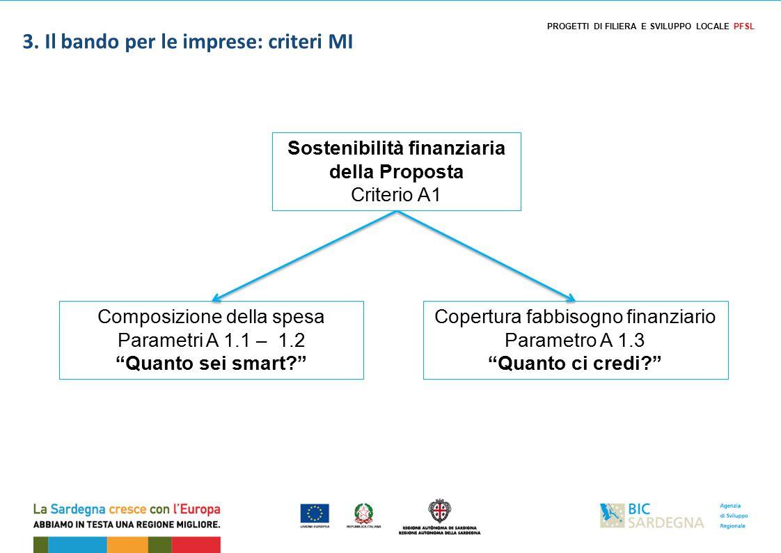 Sostenibilità finanziaria della Proposta Criterio A1 Composizione della spesa Parametri A 1.1 – 1.2 Quanto sei smart Copertura fabbisogno finanziario Parametro A 1.3 Quanto ci credi 3.