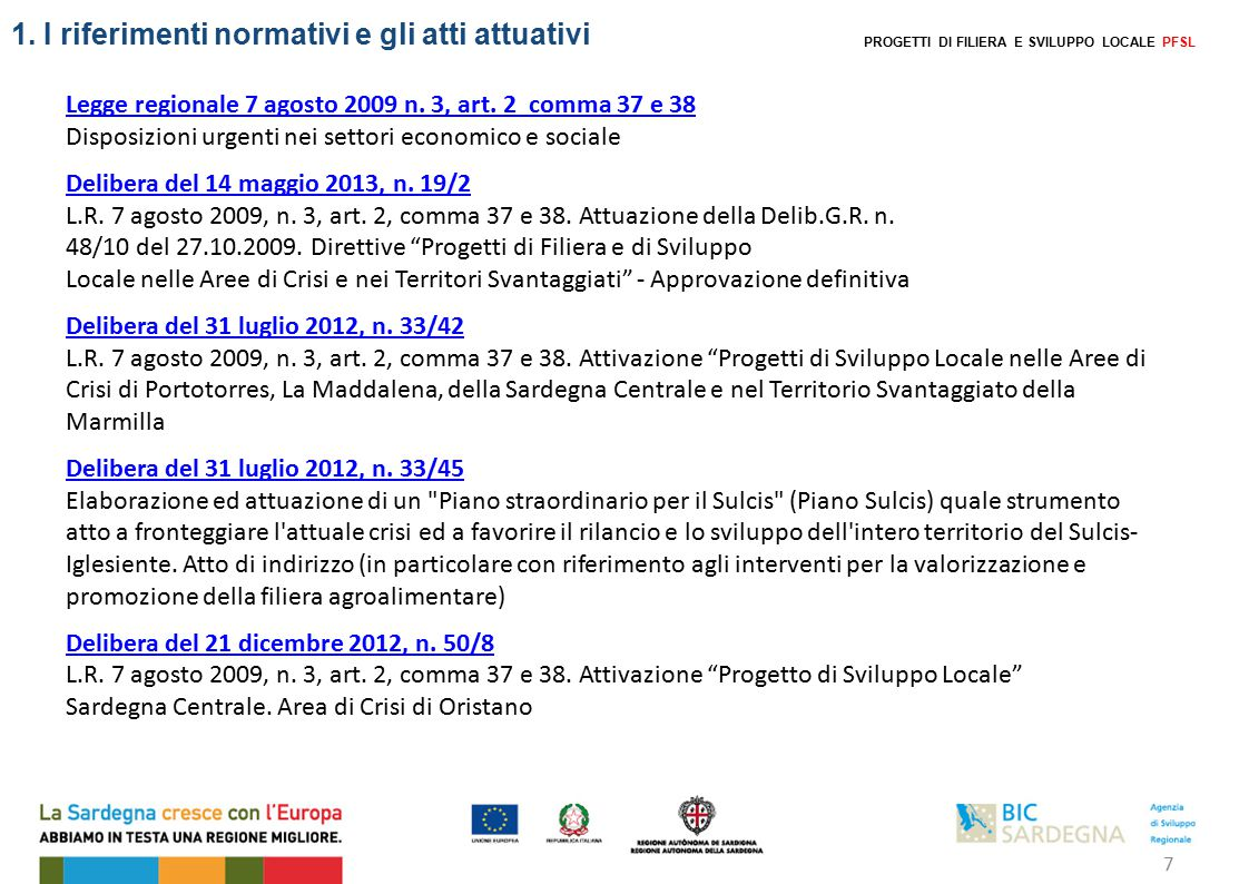 PROGETTI DI FILIERA E SVILUPPO LOCALE PFSL 1.