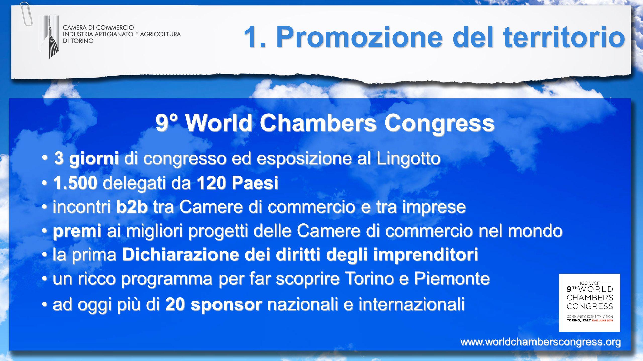 1. Promozione del territorio 9° World Chambers Congress 3 giorni di congresso ed esposizione al Lingotto 3 giorni di congresso ed esposizione al Lingo