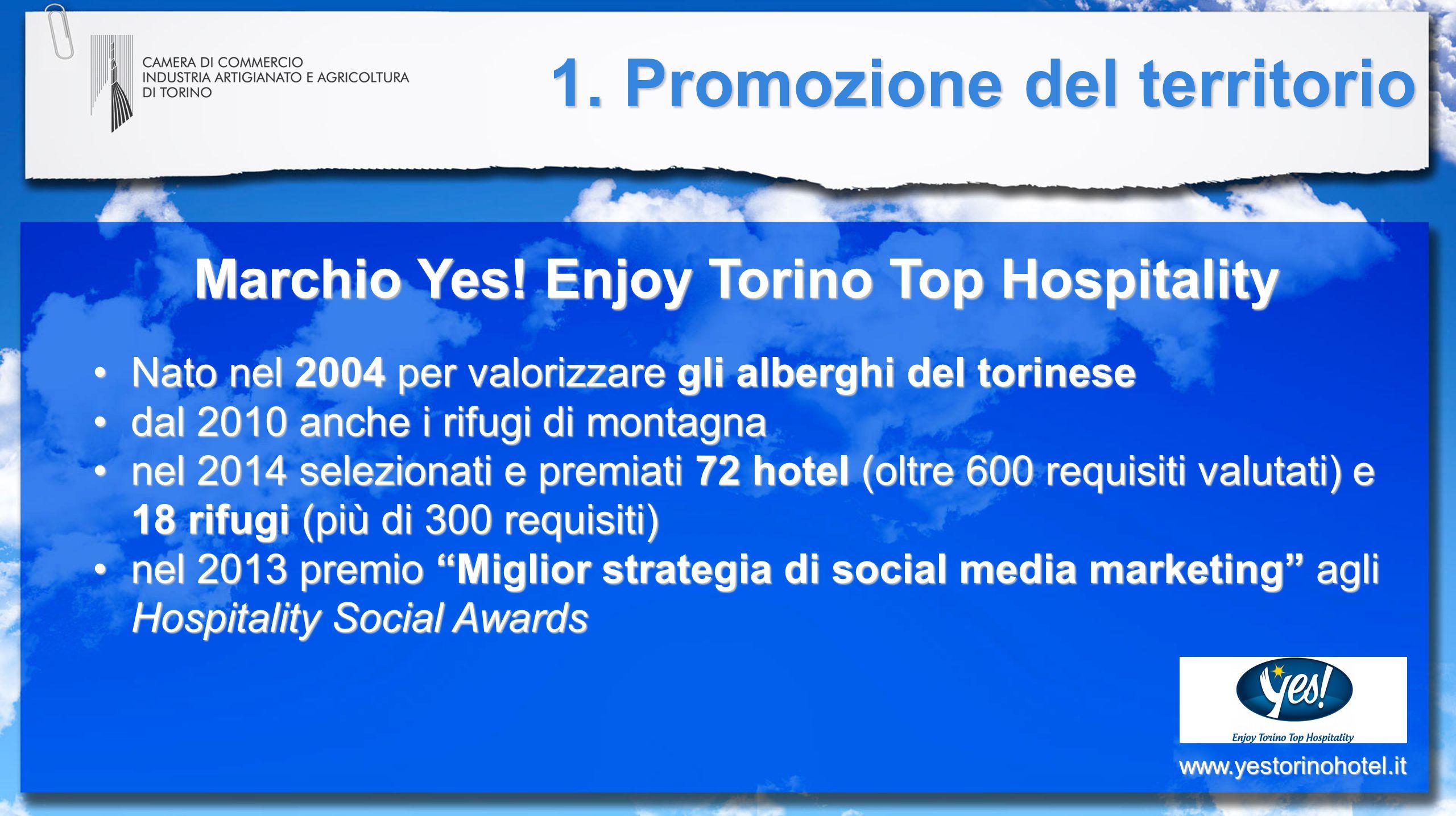Marchio Yes! Enjoy Torino Top Hospitality Nato nel 2004 per valorizzare gli alberghi del torineseNato nel 2004 per valorizzare gli alberghi del torine