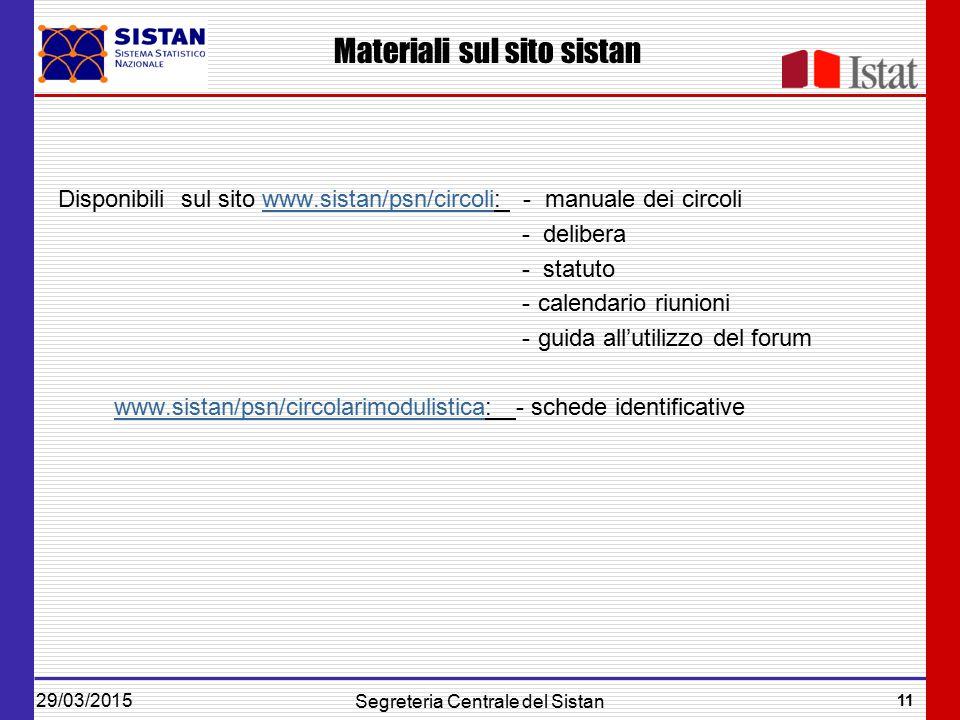 29/03/2015 11 Segreteria Centrale del Sistan Materiali sul sito sistan Disponibili sul sito www.sistan/psn/circoli: - manuale dei circoliwww.sistan/psn/circoli - delibera - statuto -calendario riunioni -guida all'utilizzo del forum www.sistan/psn/circolarimodulistica: - schede identificativewww.sistan/psn/circolarimodulistica