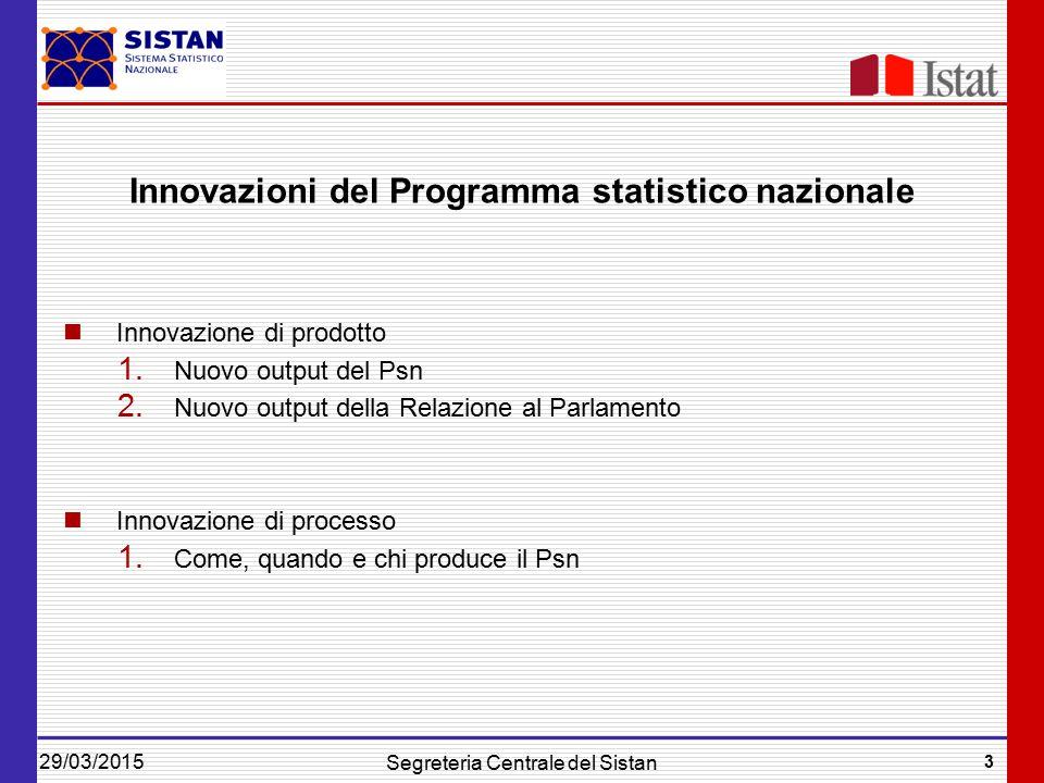 29/03/2015 3 Segreteria Centrale del Sistan Innovazioni del Programma statistico nazionale Innovazione di prodotto 1.