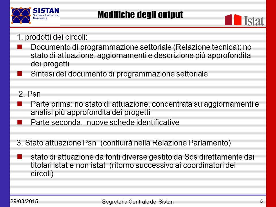 29/03/2015 5 Segreteria Centrale del Sistan Modifiche degli output 1.
