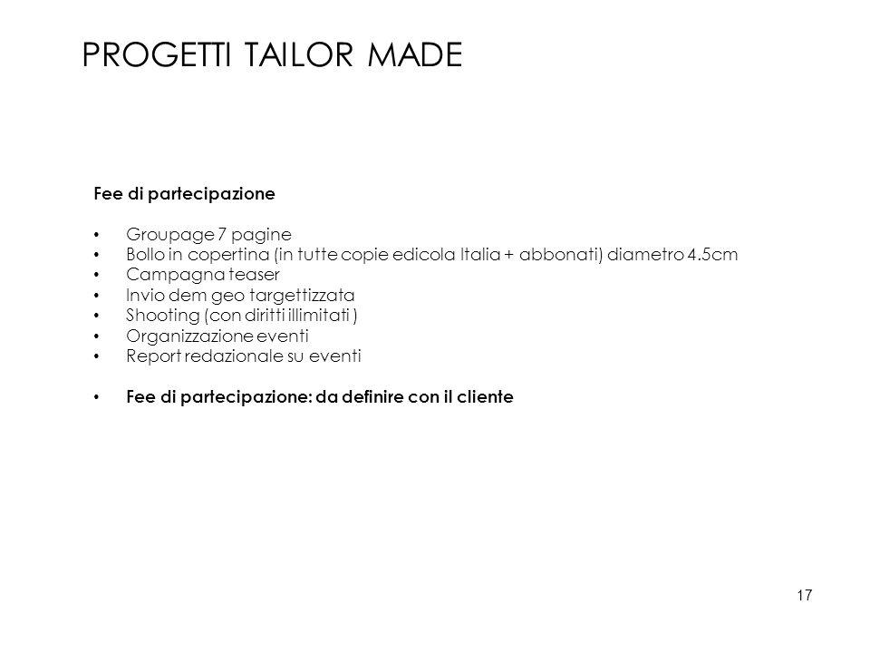Fee di partecipazione Groupage 7 pagine Bollo in copertina (in tutte copie edicola Italia + abbonati) diametro 4.5cm Campagna teaser Invio dem geo tar