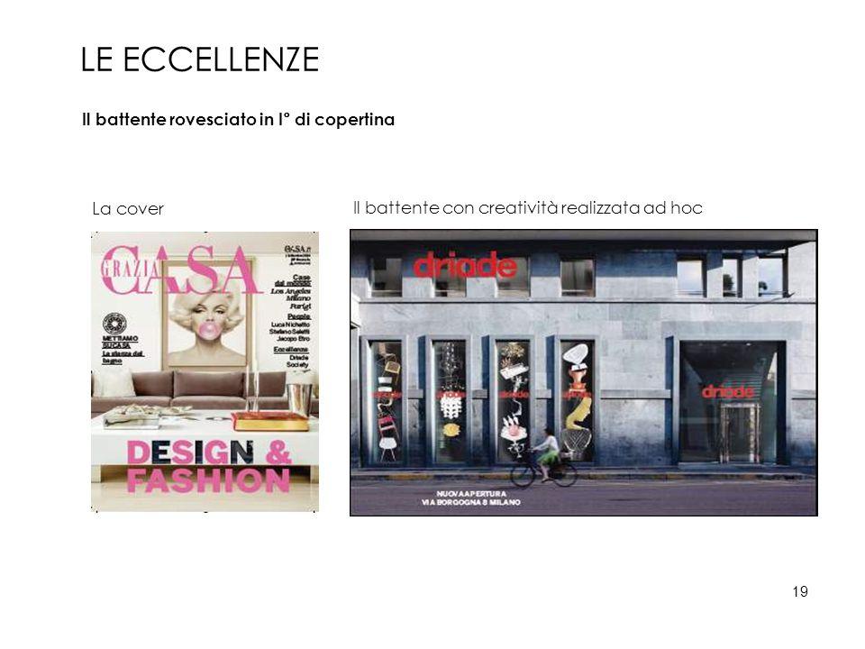 Il battente rovesciato in I° di copertina Il battente con creatività realizzata ad hoc La cover LE ECCELLENZE 19