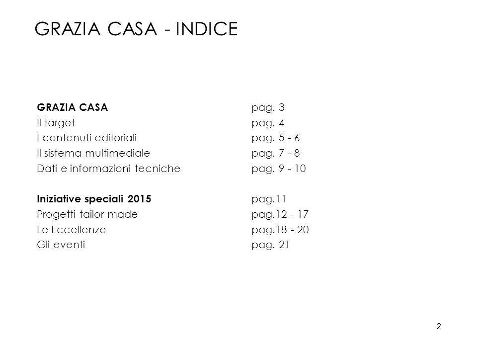 GRAZIA CASA - INDICE GRAZIA CASA pag. 3 Il targetpag. 4 I contenuti editorialipag. 5 - 6 Il sistema multimedialepag. 7 - 8 Dati e informazioni tecnich