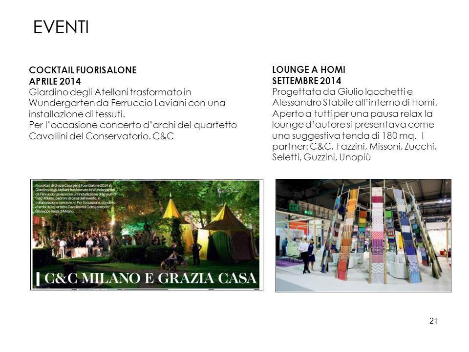 EVENTI COCKTAIL FUORISALONE APRILE 2014 Giardino degli Atellani trasformato in Wundergarten da Ferruccio Laviani con una installazione di tessuti. Per