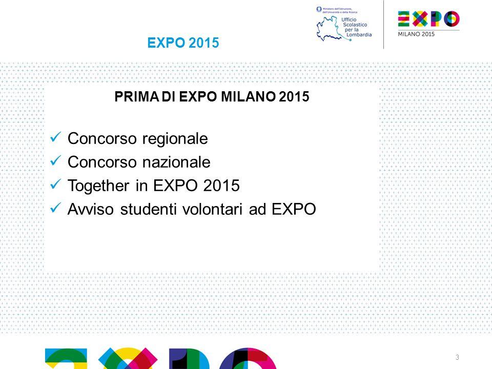 EXPO 2015 PRIMA DI EXPO MILANO 2015 Concorso regionale Concorso nazionale Together in EXPO 2015 Avviso studenti volontari ad EXPO 3