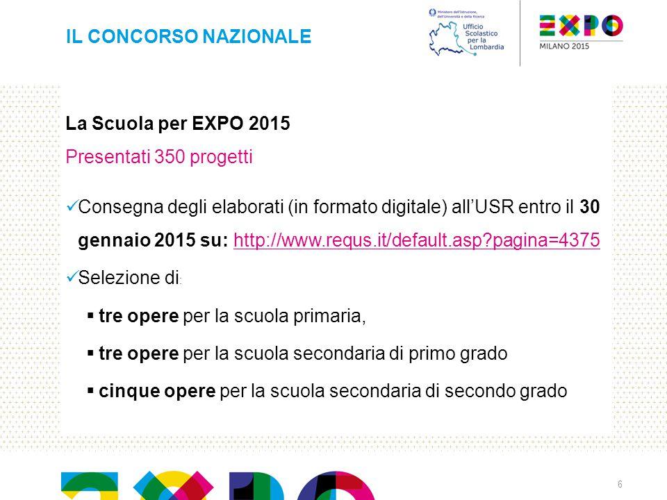 La Scuola per EXPO 2015 Presentati 350 progetti Consegna degli elaborati (in formato digitale) all'USR entro il 30 gennaio 2015 su: http://www.requs.i