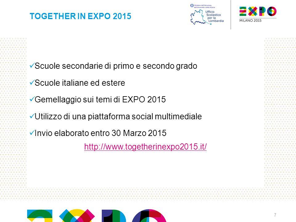 Scuole secondarie di primo e secondo grado Scuole italiane ed estere Gemellaggio sui temi di EXPO 2015 Utilizzo di una piattaforma social multimediale