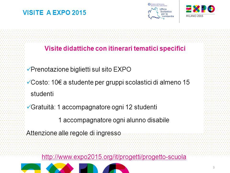 Visite didattiche con itinerari tematici specifici Prenotazione biglietti sul sito EXPO Costo: 10€ a studente per gruppi scolastici di almeno 15 stude