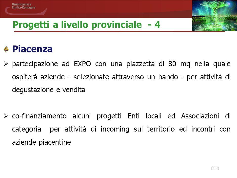 [ 11 ] Piacenza  partecipazione ad EXPO con una piazzetta di 80 mq nella quale ospiterà aziende - selezionate attraverso un bando - per attività di d