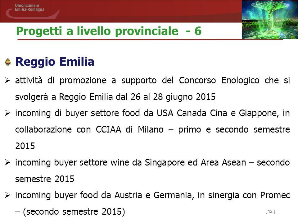 [ 12 ] Reggio Emilia  attività di promozione a supporto del Concorso Enologico che si svolgerà a Reggio Emilia dal 26 al 28 giugno 2015  incoming di