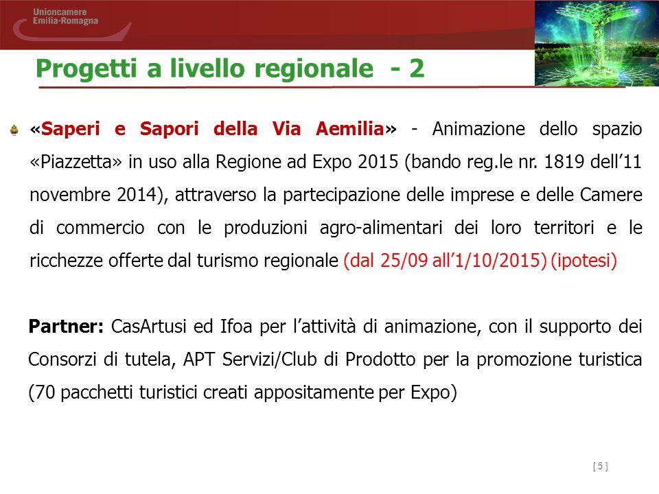 [ 5 ] « Saperi e Sapori della Via Aemilia» - Animazione dello spazio «Piazzetta» in uso alla Regione ad Expo 2015 (bando reg.le nr. 1819 dell'11 novem