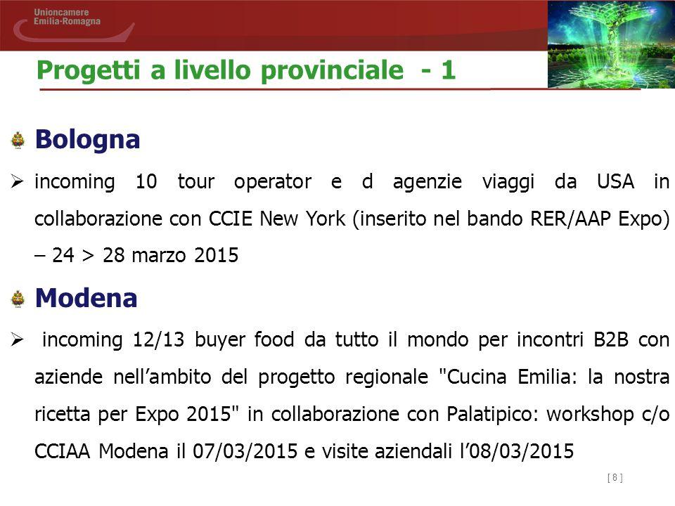 [ 8 ] Progetti a livello provinciale - 1 Bologna  incoming 10 tour operator e d agenzie viaggi da USA in collaborazione con CCIE New York (inserito n