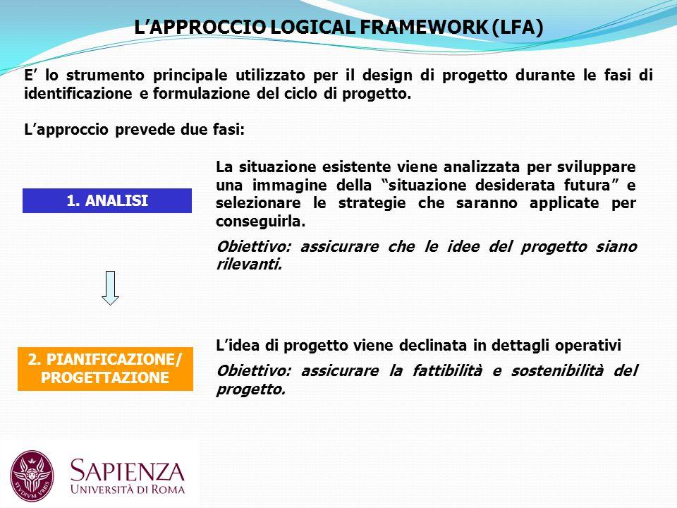 L'APPROCCIO LOGICAL FRAMEWORK (LFA) E' lo strumento principale utilizzato per il design di progetto durante le fasi di identificazione e formulazione del ciclo di progetto.