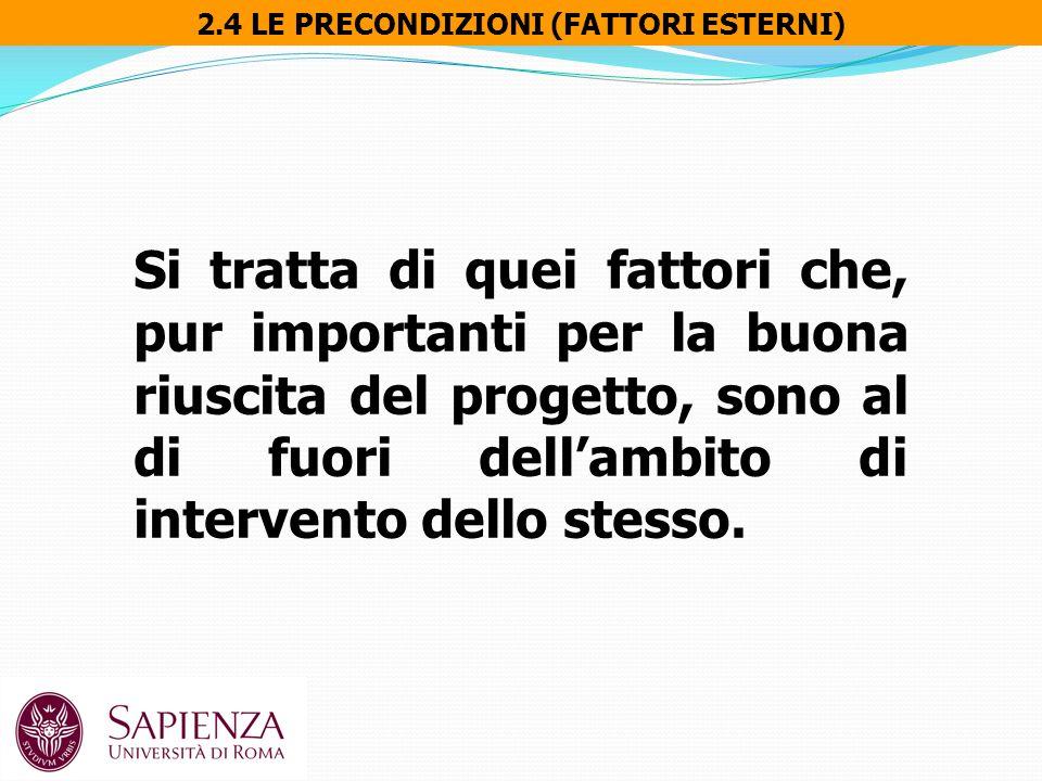 2.4 LE PRECONDIZIONI (FATTORI ESTERNI) Si tratta di quei fattori che, pur importanti per la buona riuscita del progetto, sono al di fuori dell'ambito di intervento dello stesso.