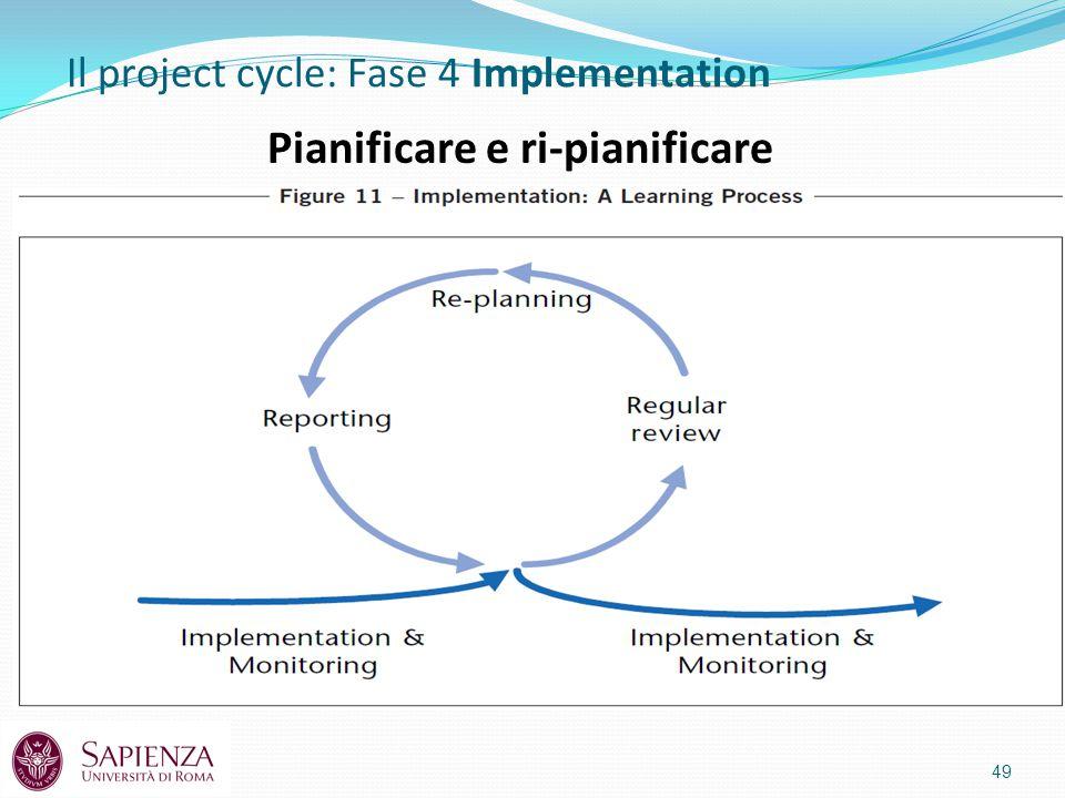 49 Il project cycle: Fase 4 Implementation Pianificare e ri-pianificare