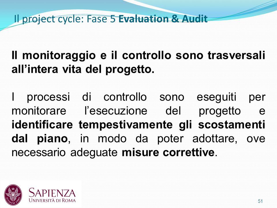 Il project cycle: Fase 5 Evaluation & Audit 51 Il monitoraggio e il controllo sono trasversali all'intera vita del progetto.