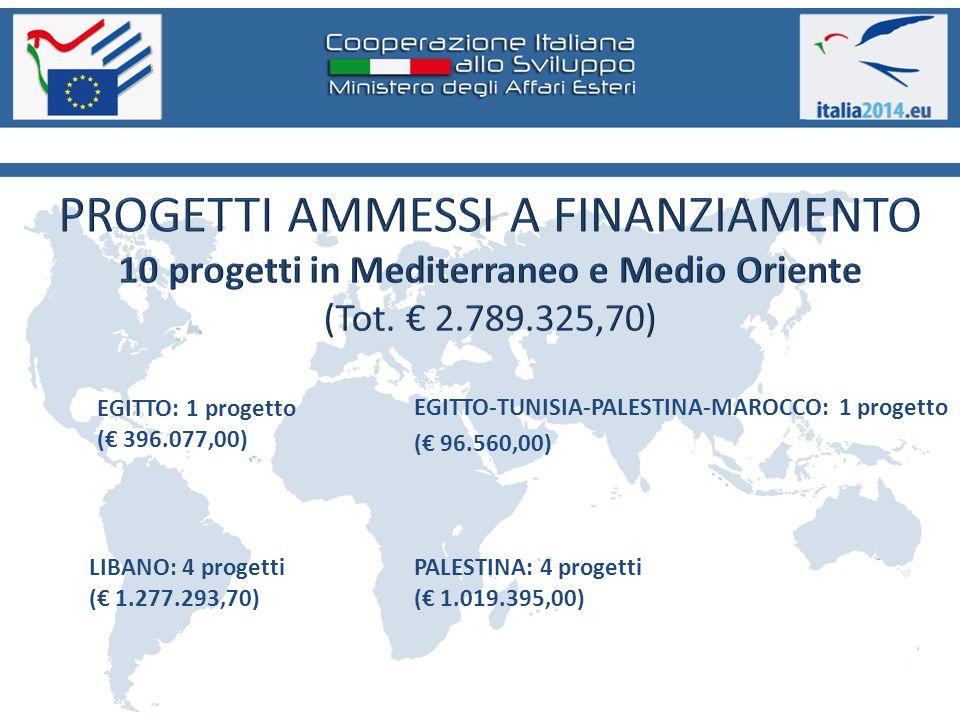 PALESTINA: 4 progetti (€ 1.019.395,00) EGITTO: 1 progetto (€ 396.077,00) LIBANO: 4 progetti (€ 1.277.293,70) EGITTO-TUNISIA-PALESTINA-MAROCCO: 1 progetto (€ 96.560,00)