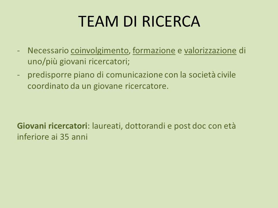 TEAM DI RICERCA -Necessario coinvolgimento, formazione e valorizzazione di uno/più giovani ricercatori; -predisporre piano di comunicazione con la società civile coordinato da un giovane ricercatore.