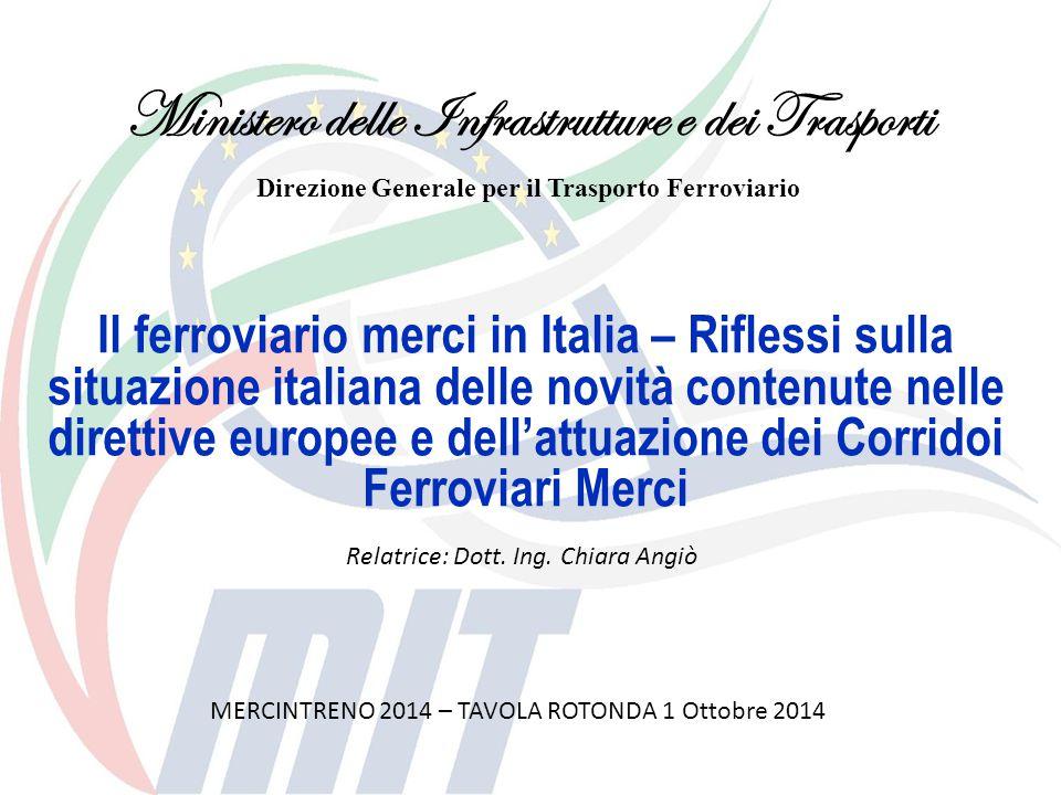 Il ferroviario merci in Italia – Riflessi sulla situazione italiana delle novità contenute nelle direttive europee e dell'attuazione dei Corridoi Ferr