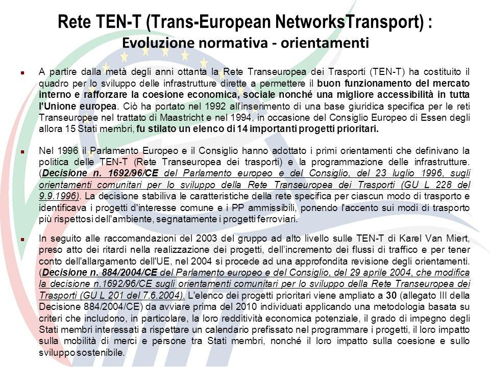 Rete TEN-T: Trans-European Transport Networks) : Evoluzione normativa - orientamenti I risultati mostrano che la realizzazione dei progetti individuati dal gruppo, combinata con diverse misure nel quadro della politica comune dei trasporti, come la tariffazione per l uso delle infrastrutture e l apertura alla concorrenza del trasporto ferroviario di merci, apporterebbe notevoli vantaggi in termini di risparmio di tempo, riduzione delle emissioni e della congestione, miglioramento dell accessibilità degli Stati membri periferici e dei nuovi Stati membri, nonché un maggiore benessere collettivo.