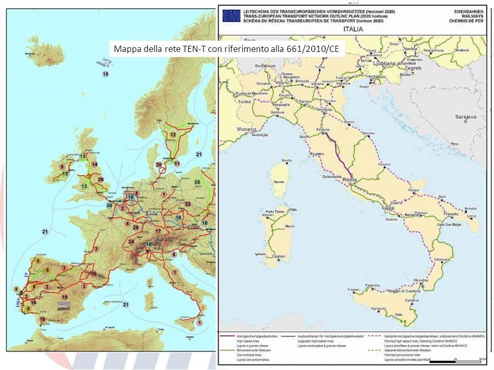 Mappa della rete TEN-T con riferimento alla Decisione 884/2004/CE Mappa della rete TEN-T con riferimento alla 661/2010/CE